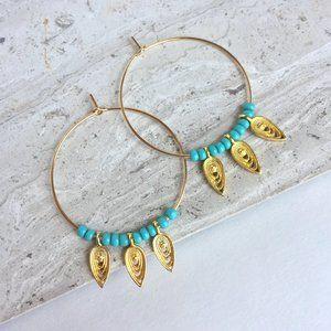 Turquoise & Gold filigree dangle hoop Earrings